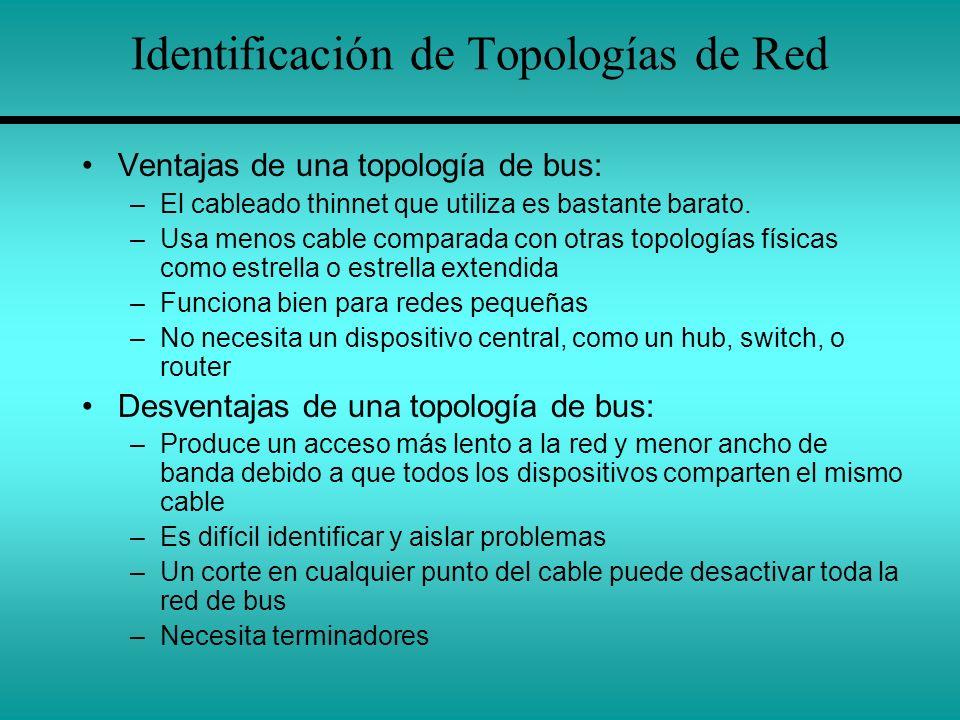 Identificación de Topologías de Red Ventajas de una topología de bus: –El cableado thinnet que utiliza es bastante barato. –Usa menos cable comparada