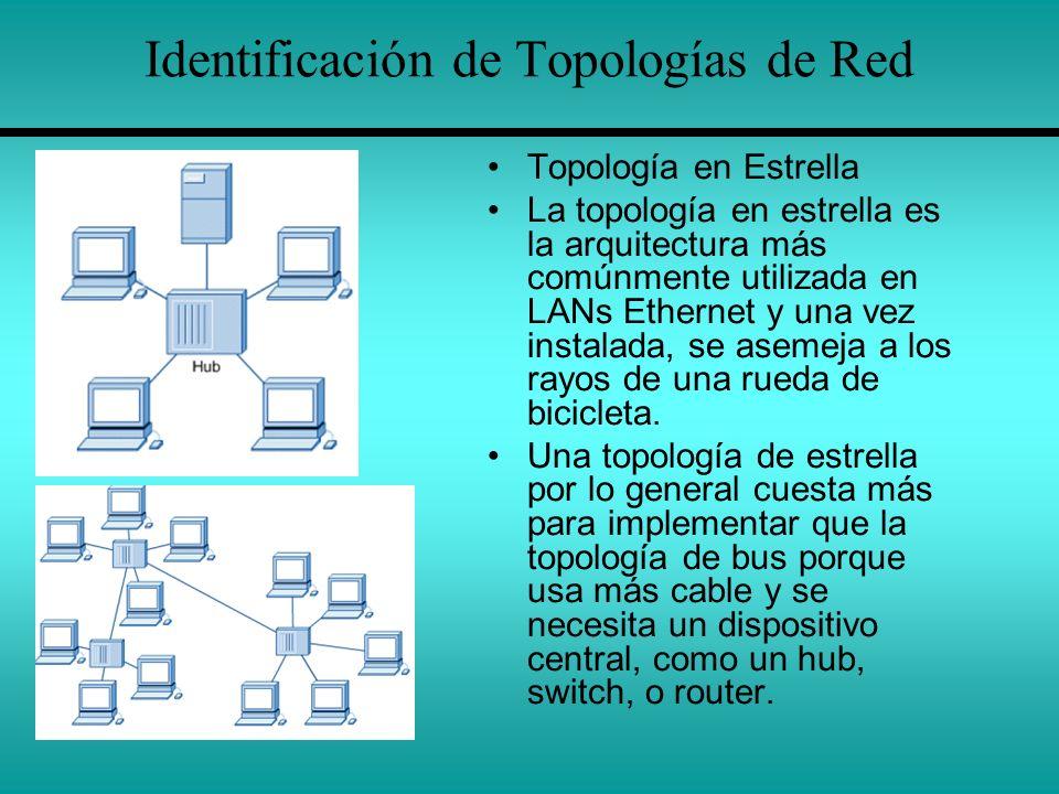 Identificación de Topologías de Red Topología en Estrella La topología en estrella es la arquitectura más comúnmente utilizada en LANs Ethernet y una