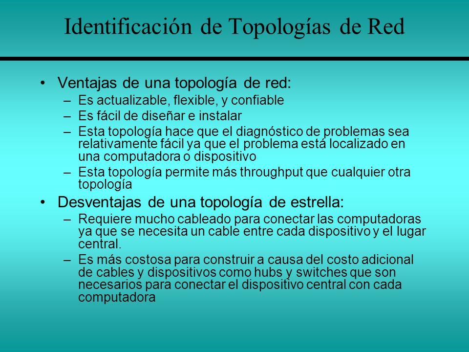 Identificación de Topologías de Red Ventajas de una topología de red: –Es actualizable, flexible, y confiable –Es fácil de diseñar e instalar –Esta to