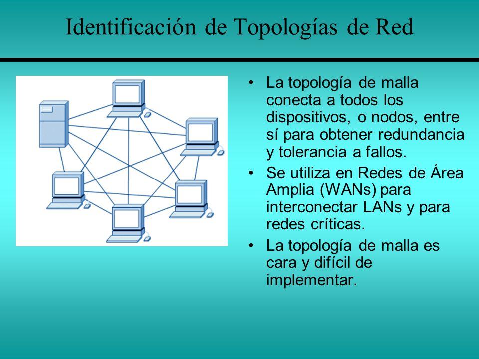 Identificación de Topologías de Red La topología de malla conecta a todos los dispositivos, o nodos, entre sí para obtener redundancia y tolerancia a