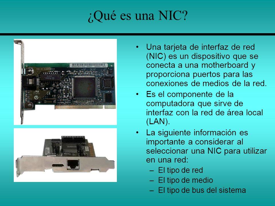 ¿Qué es una NIC? Una tarjeta de interfaz de red (NIC) es un dispositivo que se conecta a una motherboard y proporciona puertos para las conexiones de