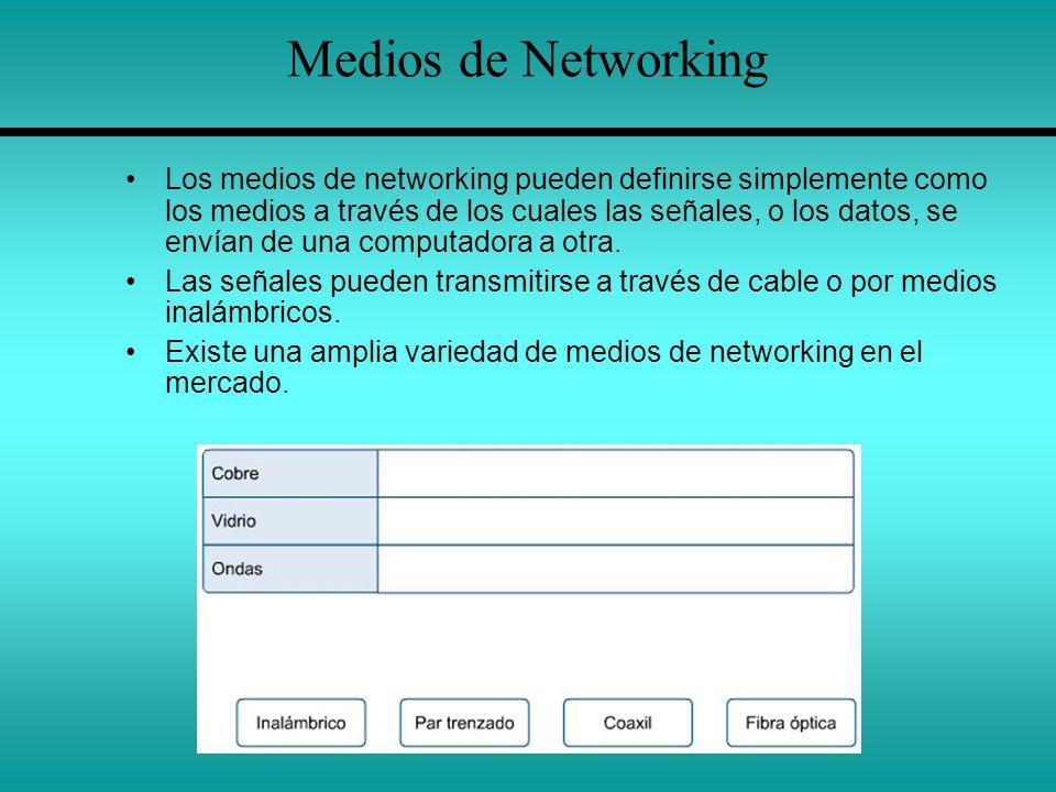 Medios de Networking Los medios de networking pueden definirse simplemente como los medios a través de los cuales las señales, o los datos, se envían
