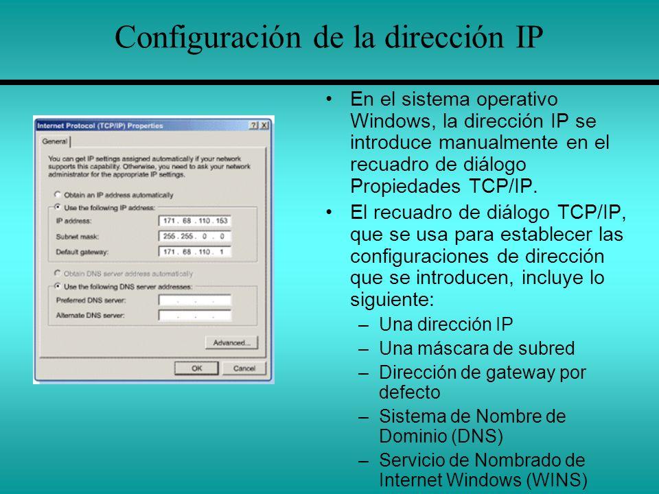 Configuración de la dirección IP En el sistema operativo Windows, la dirección IP se introduce manualmente en el recuadro de diálogo Propiedades TCP/I
