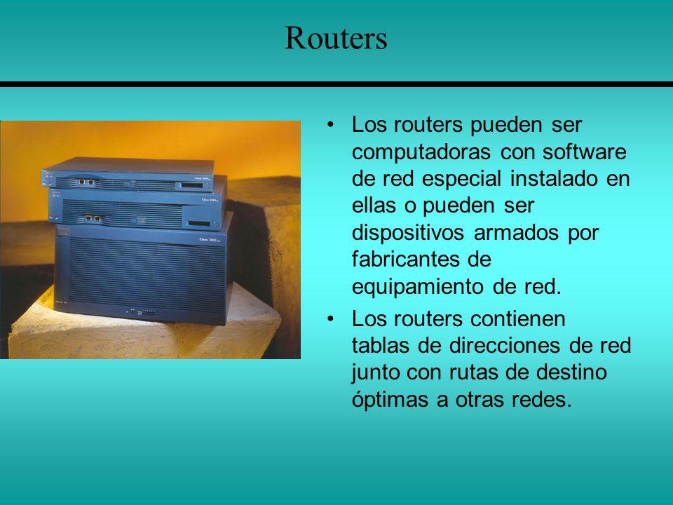 Routers Los routers pueden ser computadoras con software de red especial instalado en ellas o pueden ser dispositivos armados por fabricantes de equip