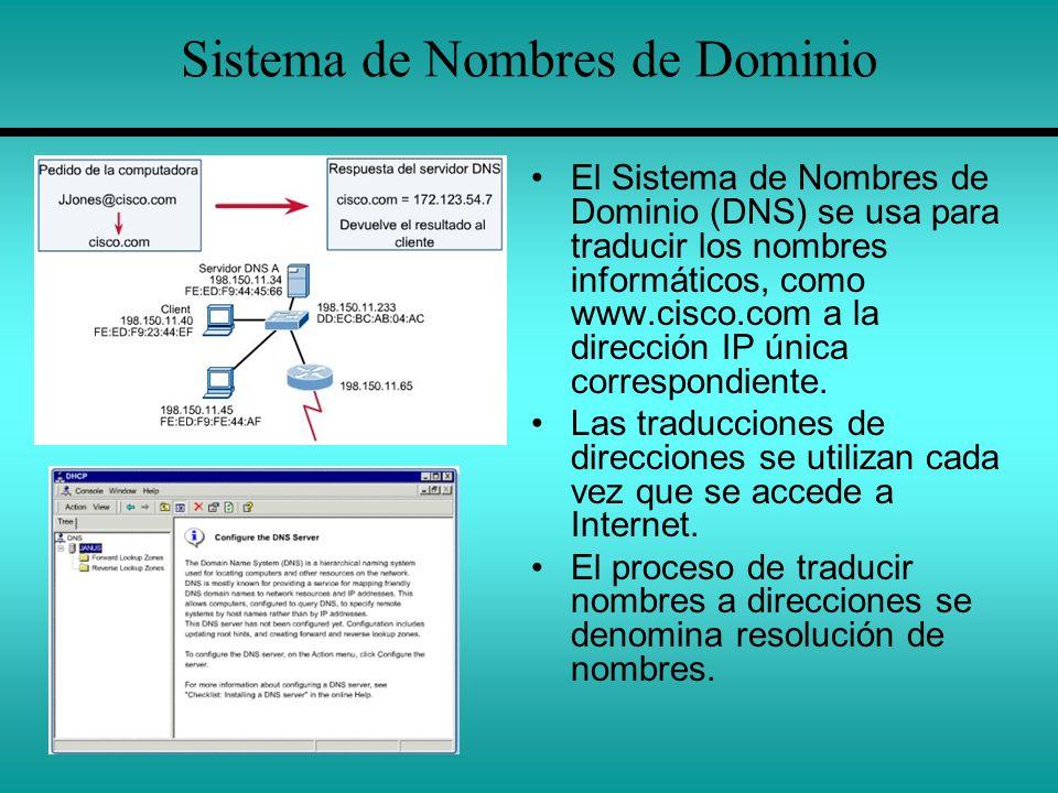 Sistema de Nombres de Dominio El Sistema de Nombres de Dominio (DNS) se usa para traducir los nombres informáticos, como www.cisco.com a la dirección