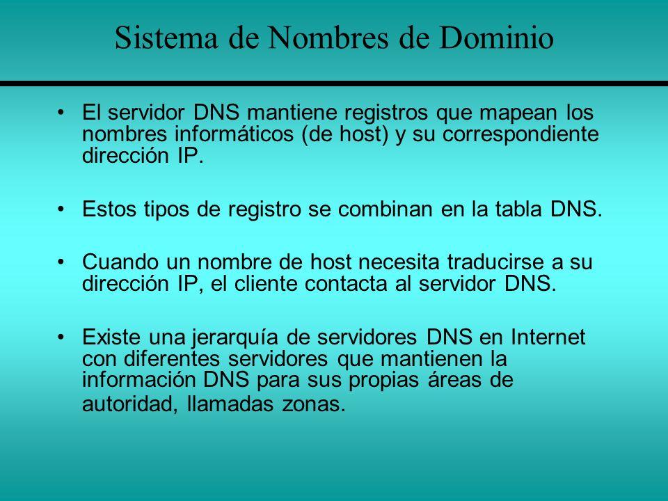Sistema de Nombres de Dominio El servidor DNS mantiene registros que mapean los nombres informáticos (de host) y su correspondiente dirección IP. Esto