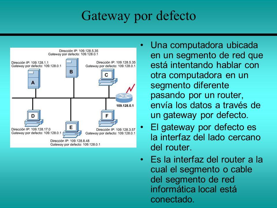 Gateway por defecto Una computadora ubicada en un segmento de red que está intentando hablar con otra computadora en un segmento diferente pasando por