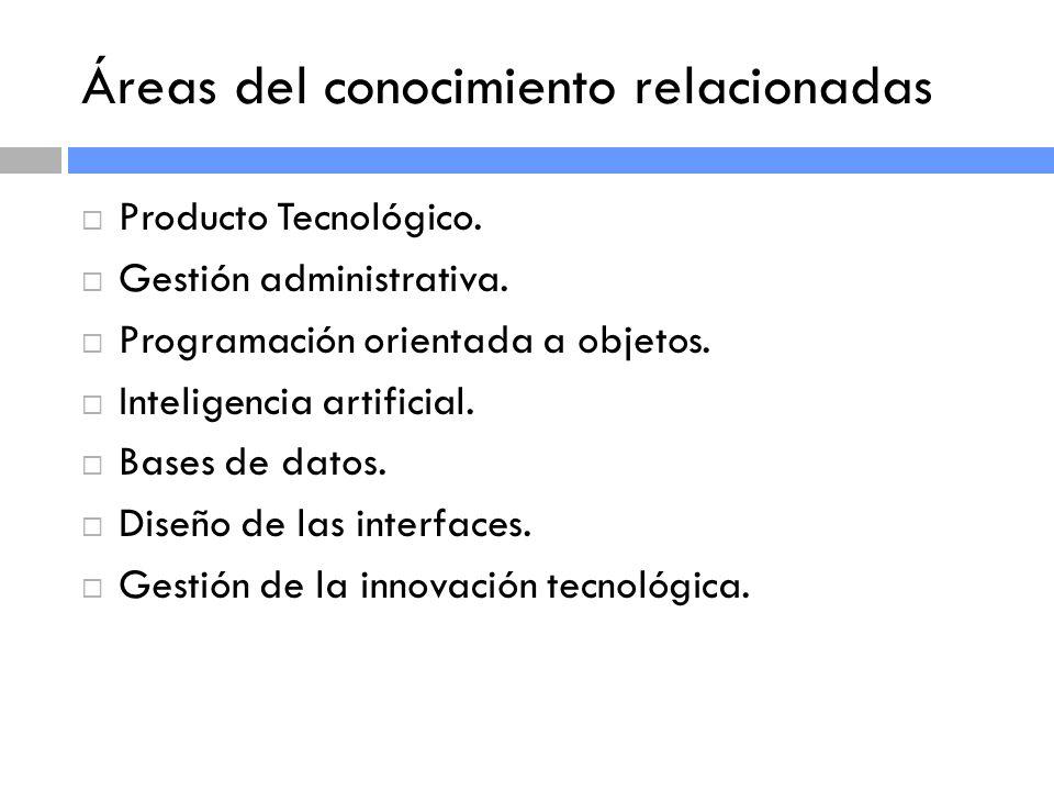 Áreas del conocimiento relacionadas Producto Tecnológico.