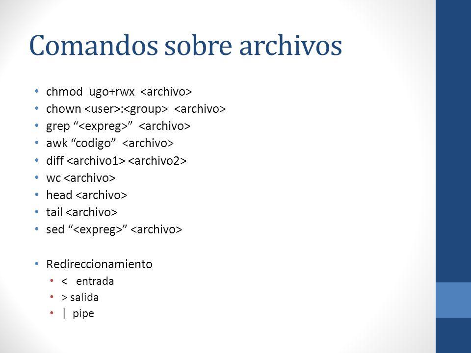 Comandos sobre archivos chmod ugo+rwx chown : grep awk codigo diff wc head tail sed Redireccionamiento < entrada > salida | pipe