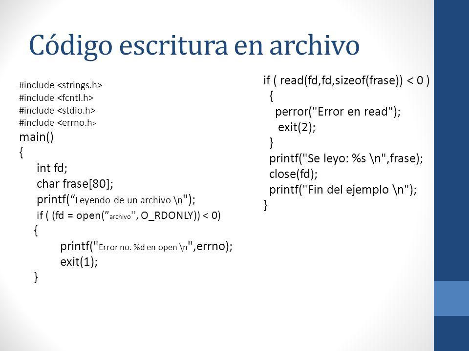 Código escritura en archivo #include main() { int fd; char frase[80]; printf( Leyendo de un archivo \n