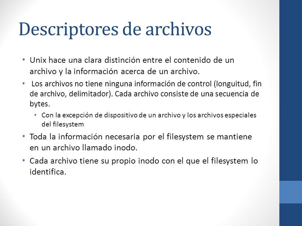 Descriptores de archivos Unix hace una clara distinción entre el contenido de un archivo y la información acerca de un archivo. Los archivos no tiene