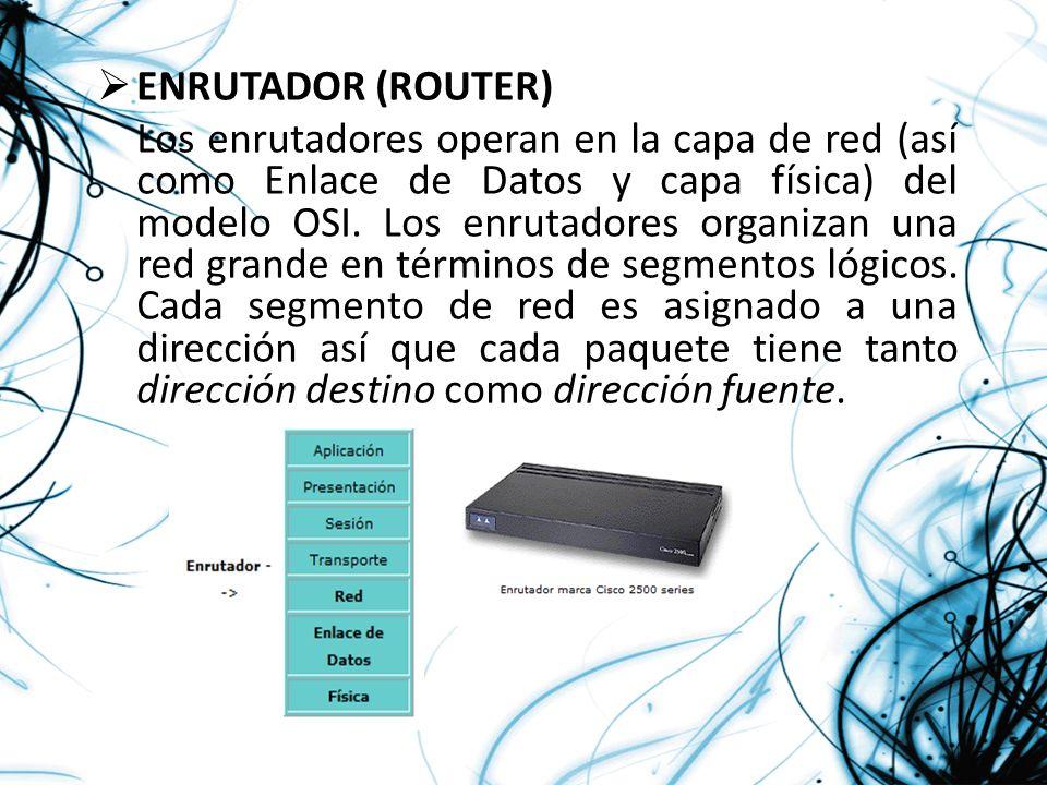 ENRUTADOR (ROUTER) Los enrutadores operan en la capa de red (así como Enlace de Datos y capa física) del modelo OSI. Los enrutadores organizan una red