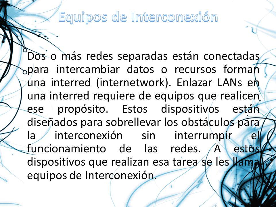 Dos o más redes separadas están conectadas para intercambiar datos o recursos forman una interred (internetwork). Enlazar LANs en una interred requier
