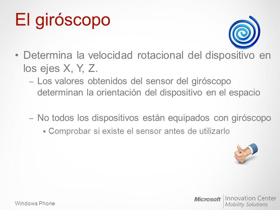Windows Phone Cómo utilizar el giróscopo if (gyroscope == null) { gyroscope = new Gyroscope(); gyroscope.TimeBetweenUpdates = TimeSpan.FromMilliseconds(20); gyroscope.CurrentValueChanged += new EventHandler >(gyroscope_CurrentV alueChanged); gyroscope.Start(); }...