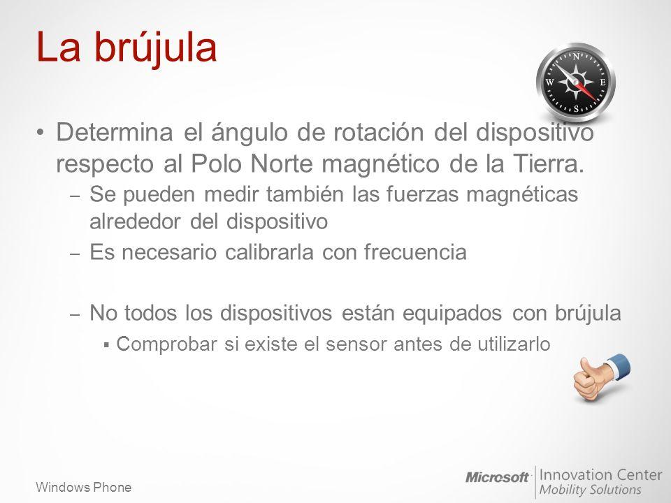 Windows Phone La brújula Determina el ángulo de rotación del dispositivo respecto al Polo Norte magnético de la Tierra.