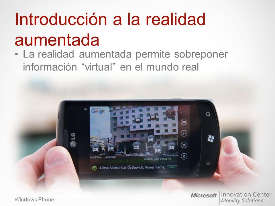 Windows Phone Introducción a la realidad aumentada Elementos de realidad aumentada – Etiquetas de texto emplazadas en puntos del espacio y que se desplazan al mover el dispositivo Edificios, tiendas, hoteles…