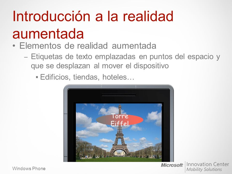 Windows Phone Introducción a la realidad aumentada Una aplicación de realidad aumentada necesita utilizar – Sensores (Motion API) – Cámara – Datos
