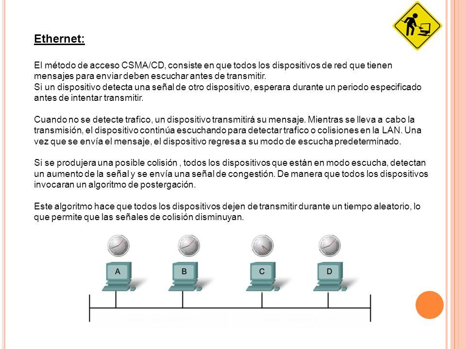 Ethernet: El método de acceso CSMA/CD, consiste en que todos los dispositivos de red que tienen mensajes para enviar deben escuchar antes de transmiti
