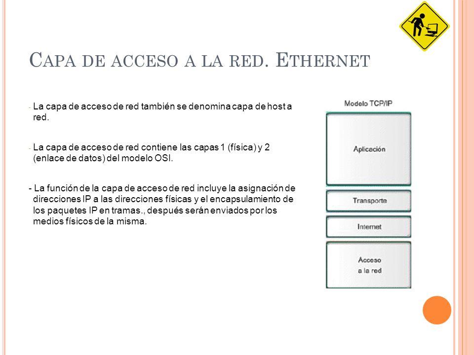 Ethernet: En esta capa están los siguientes estándares aunque solo nos centraremos en la tecnología Ethernet: Ethernet es un estándar de redes de área local para ordenadores con acceso al medio por CSMA/CD.