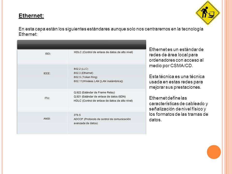 Ethernet: En esta capa están los siguientes estándares aunque solo nos centraremos en la tecnología Ethernet: Ethernet es un estándar de redes de área