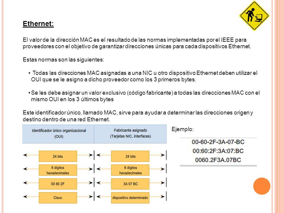 Ethernet: El valor de la dirección MAC es el resultado de las normas implementadas por el IEEE para proveedores con el objetivo de garantizar direccio