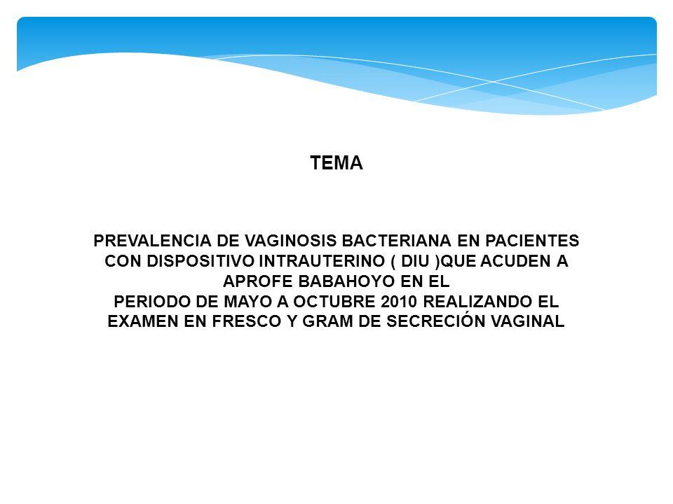 TEMA PREVALENCIA DE VAGINOSIS BACTERIANA EN PACIENTES CON DISPOSITIVO INTRAUTERINO ( DIU )QUE ACUDEN A APROFE BABAHOYO EN EL PERIODO DE MAYO A OCTUBRE 2010 REALIZANDO EL EXAMEN EN FRESCO Y GRAM DE SECRECIÓN VAGINAL