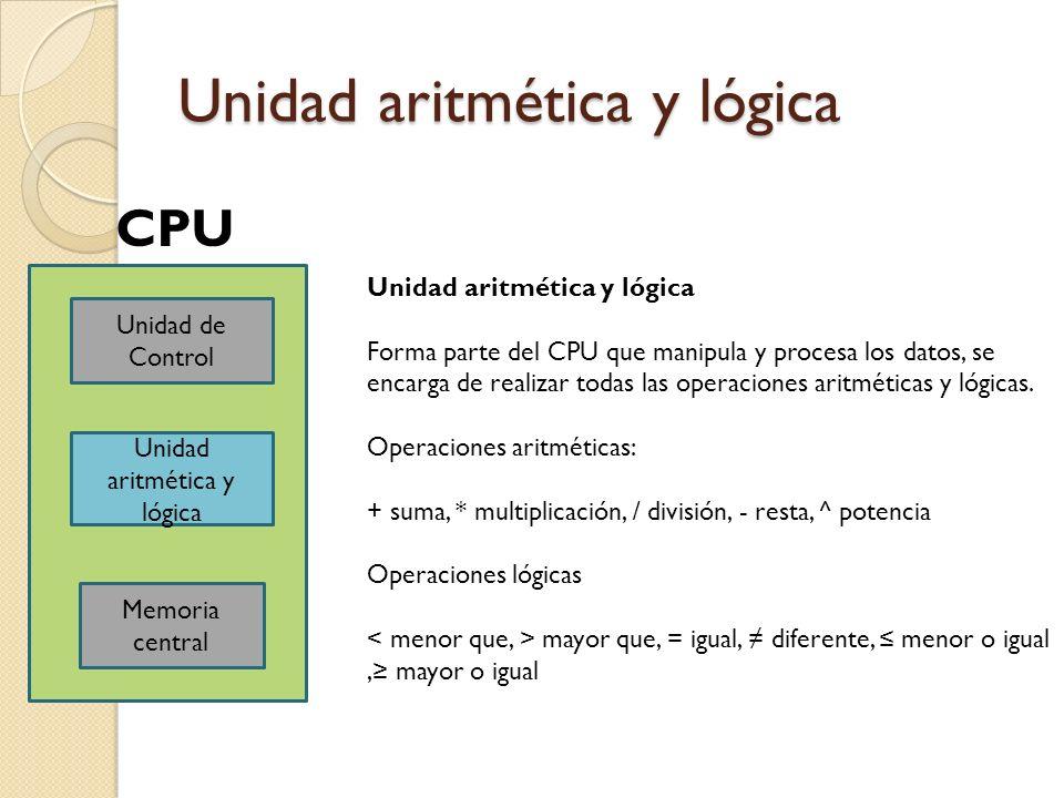 Unidad aritmética y lógica Unidad de Control Unidad aritmética y lógica Memoria central CPU Unidad aritmética y lógica Forma parte del CPU que manipul