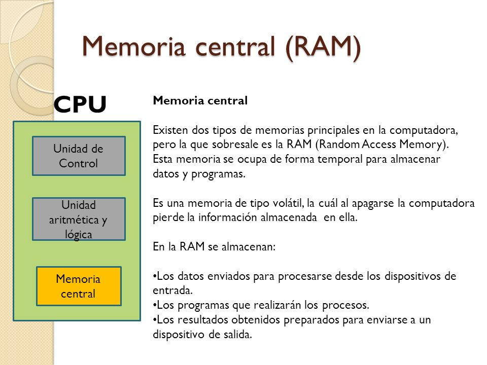Memoria central (RAM) Unidad de Control Unidad aritmética y lógica Memoria central CPU Memoria central Existen dos tipos de memorias principales en la