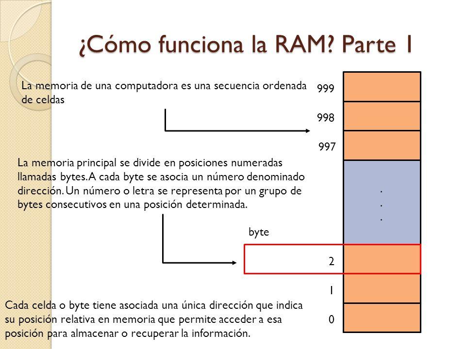 ¿Cómo funciona la RAM? Parte 1 La memoria de una computadora es una secuencia ordenada de celdas...... 1 0 2 997 998 999 La memoria principal se divid