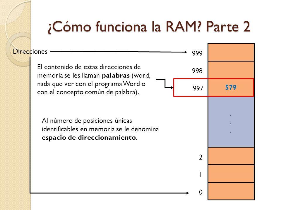 ¿Cómo funciona la RAM? Parte 2 Direcciones...... 579 1 0 2 997 998 999 El contenido de estas direcciones de memoria se les llaman palabras (word, nada
