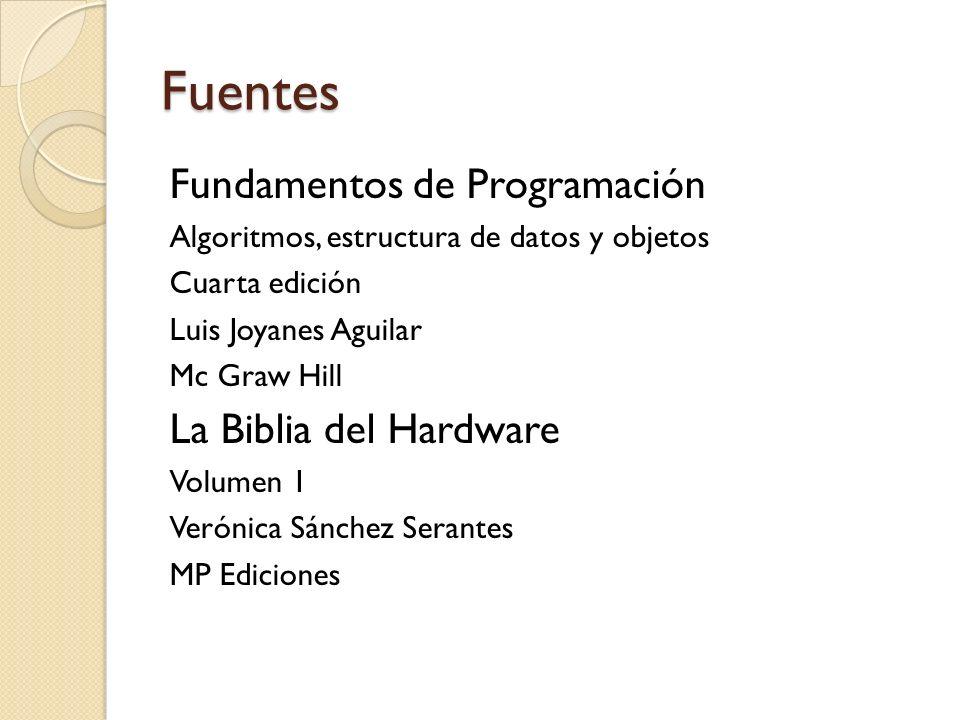 Fuentes Fundamentos de Programación Algoritmos, estructura de datos y objetos Cuarta edición Luis Joyanes Aguilar Mc Graw Hill La Biblia del Hardware