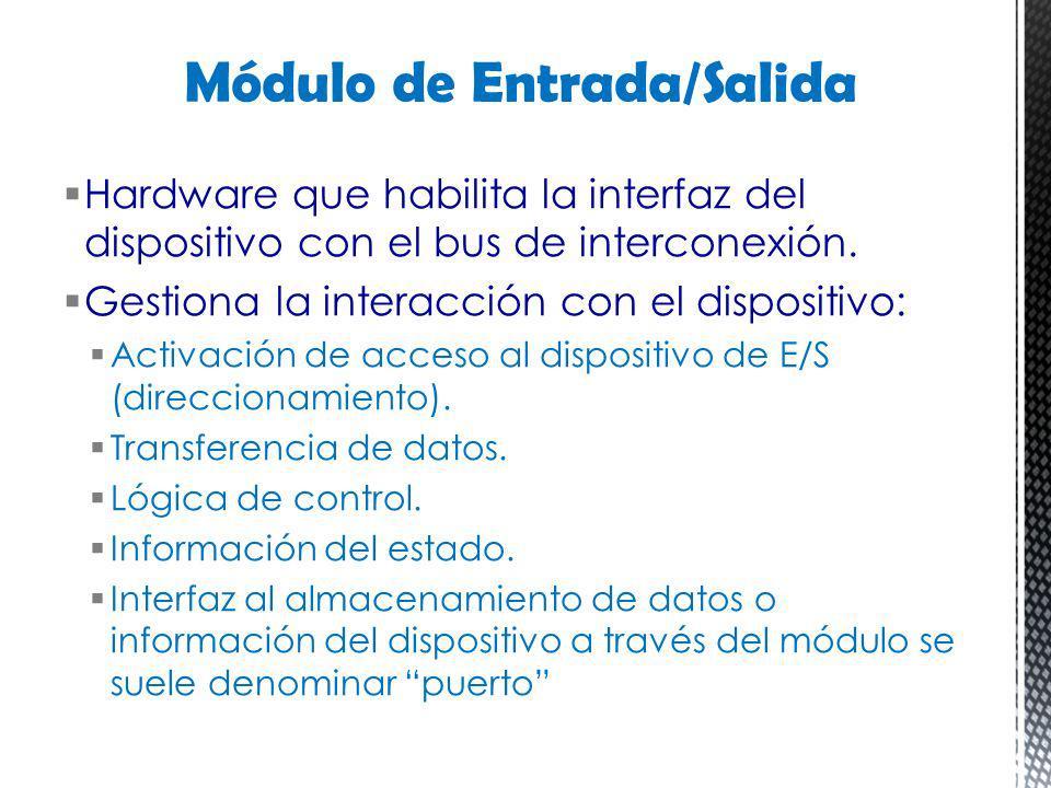 Hardware que habilita la interfaz del dispositivo con el bus de interconexión. Gestiona la interacción con el dispositivo: Activación de acceso al dis