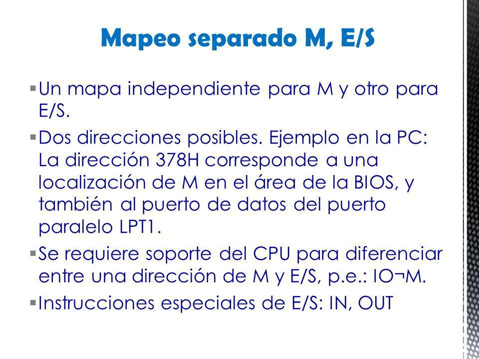 Un mapa independiente para M y otro para E/S. Dos direcciones posibles. Ejemplo en la PC: La dirección 378H corresponde a una localización de M en el