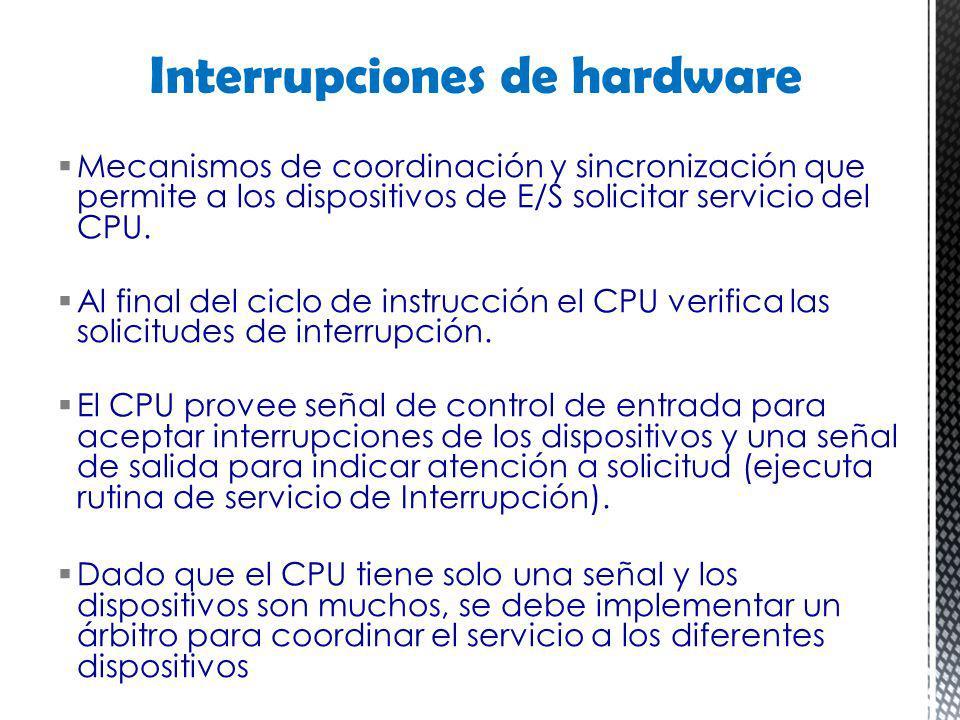Mecanismos de coordinación y sincronización que permite a los dispositivos de E/S solicitar servicio del CPU. Al final del ciclo de instrucción el CPU