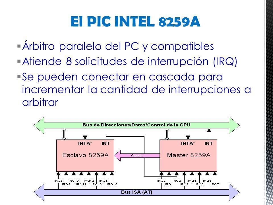Árbitro paralelo del PC y compatibles Atiende 8 solicitudes de interrupción (IRQ) Se pueden conectar en cascada para incrementar la cantidad de interr