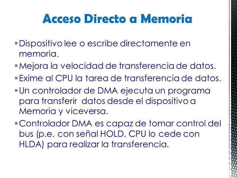 Dispositivo lee o escribe directamente en memoria. Mejora la velocidad de transferencia de datos. Exime al CPU la tarea de transferencia de datos. Un