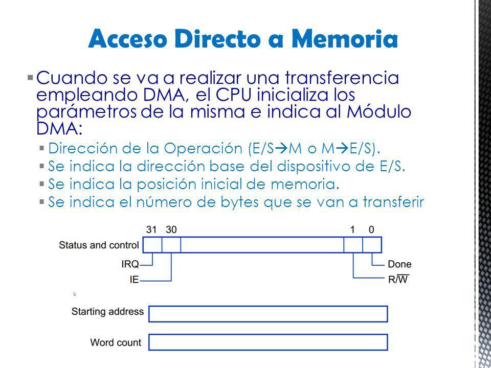 Cuando se va a realizar una transferencia empleando DMA, el CPU inicializa los parámetros de la misma e indica al Módulo DMA: Dirección de la Operació
