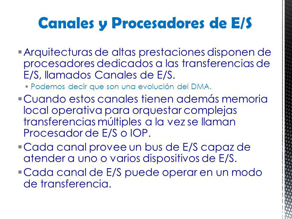 Arquitecturas de altas prestaciones disponen de procesadores dedicados a las transferencias de E/S, llamados Canales de E/S. Podemos decir que son una