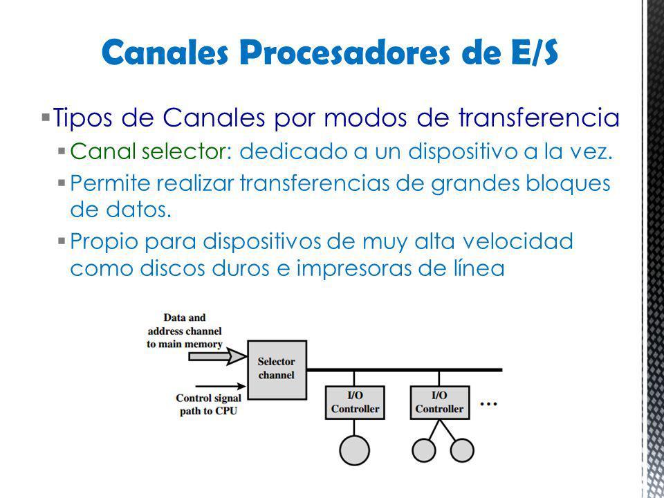 Tipos de Canales por modos de transferencia Canal selector: dedicado a un dispositivo a la vez. Permite realizar transferencias de grandes bloques de