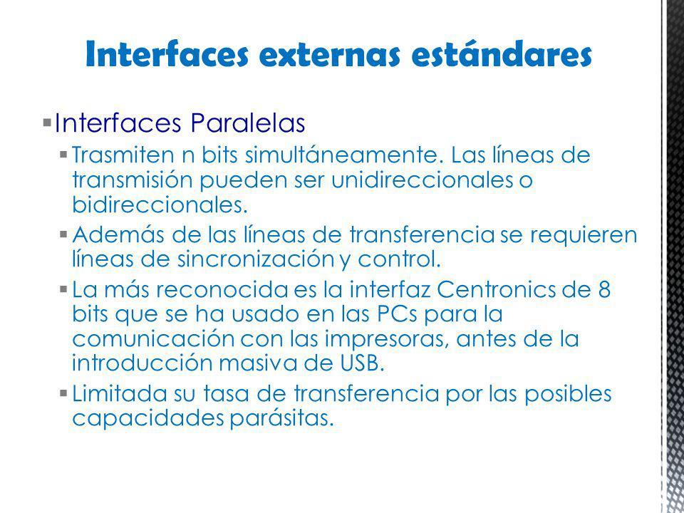 Interfaces Paralelas Trasmiten n bits simultáneamente. Las líneas de transmisión pueden ser unidireccionales o bidireccionales. Además de las líneas d