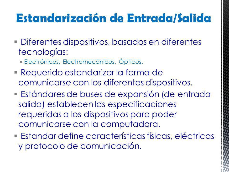 Diferentes dispositivos, basados en diferentes tecnologías: Electrónicos, Electromecánicos, Ópticos. Requerido estandarizar la forma de comunicarse co