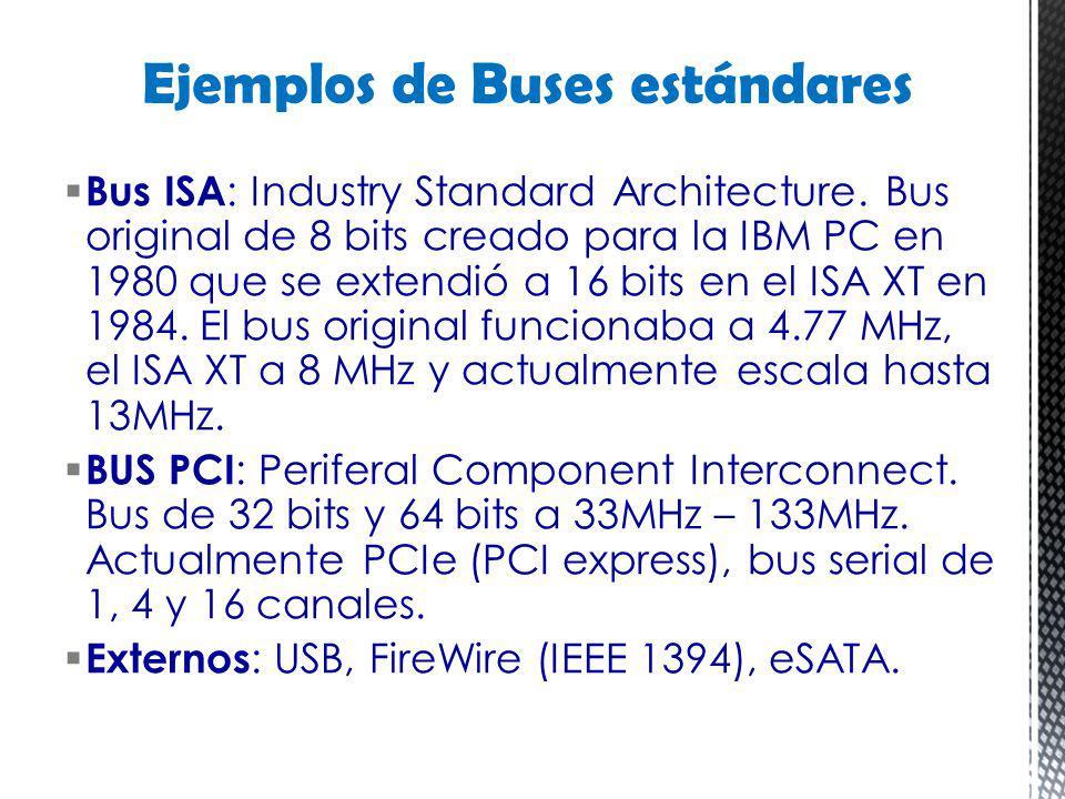 Bus ISA : Industry Standard Architecture. Bus original de 8 bits creado para la IBM PC en 1980 que se extendió a 16 bits en el ISA XT en 1984. El bus