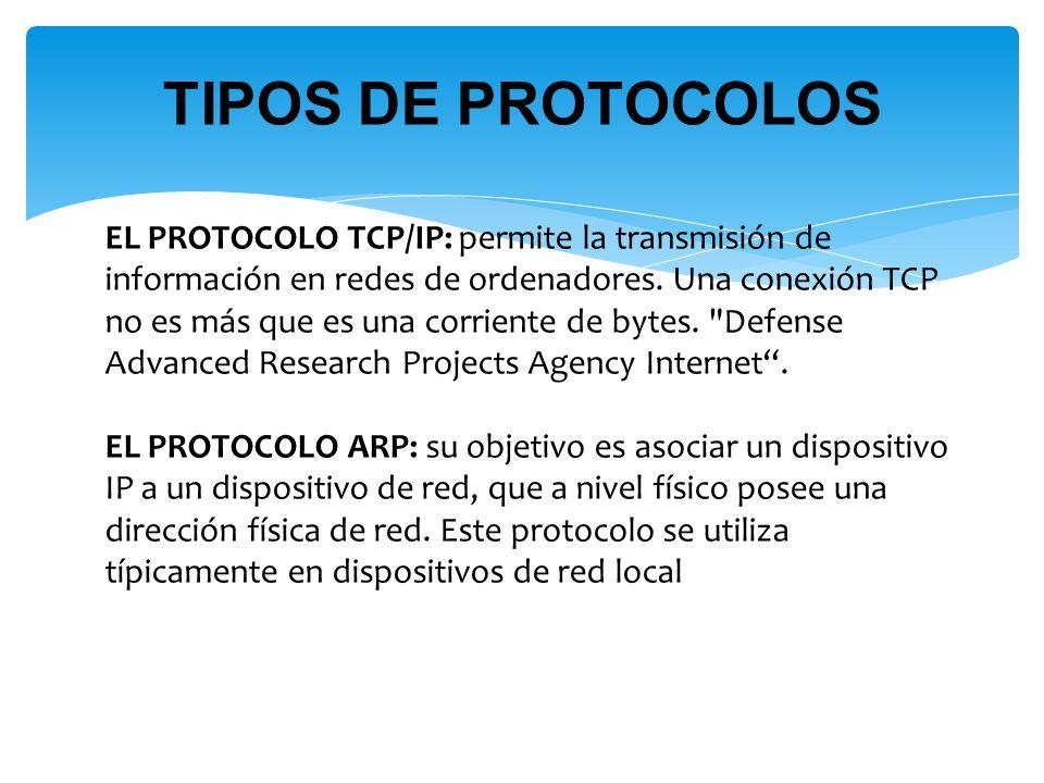 EL PROTOCOLO TCP/IP: permite la transmisión de información en redes de ordenadores.