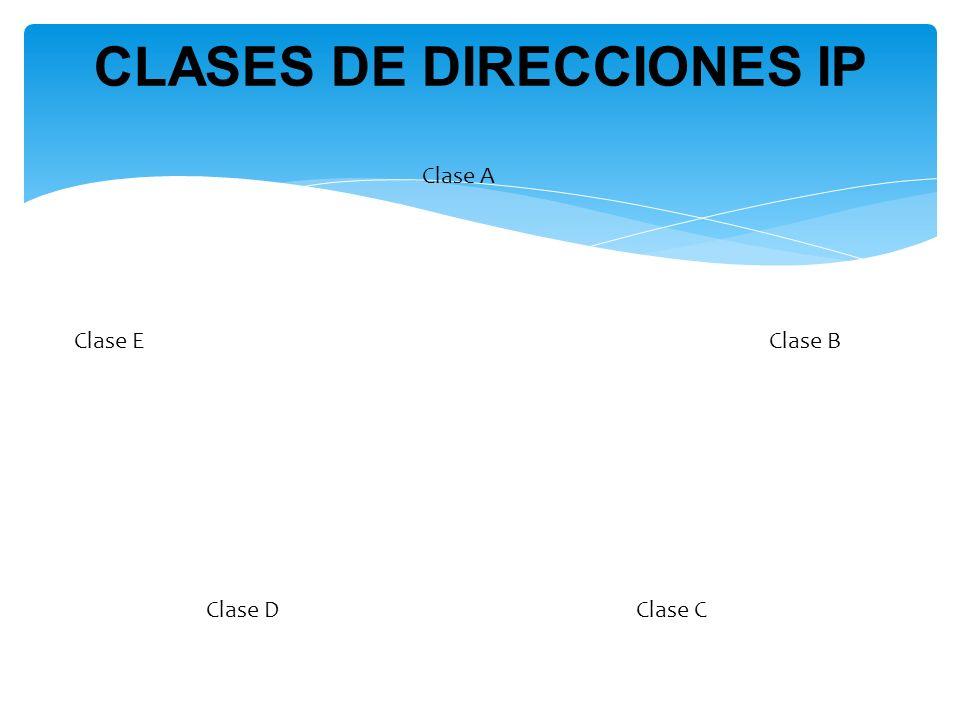 Clase A Clase B Clase CClase D Clase E CLASES DE DIRECCIONES IP