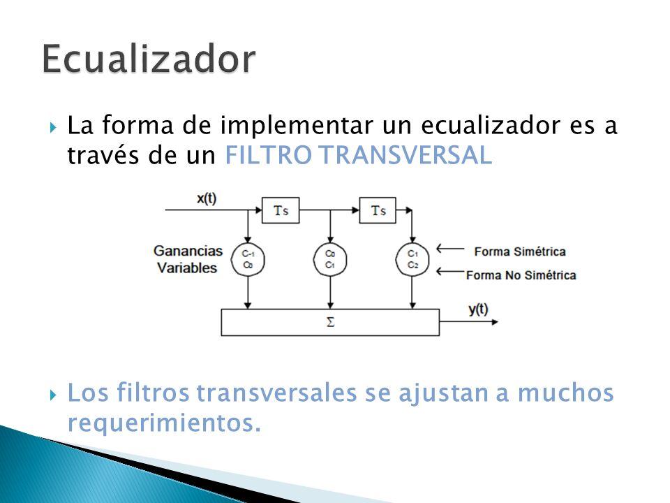 La forma de implementar un ecualizador es a través de un FILTRO TRANSVERSAL Los filtros transversales se ajustan a muchos requerimientos.