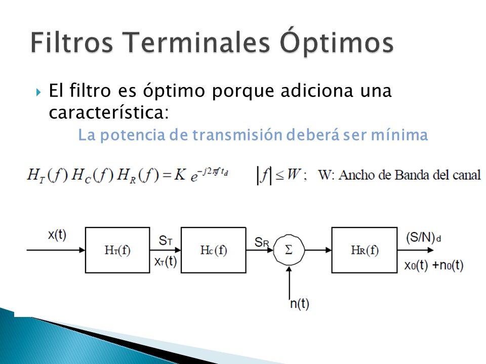 El filtro es óptimo porque adiciona una característica: La potencia de transmisión deberá ser mínima