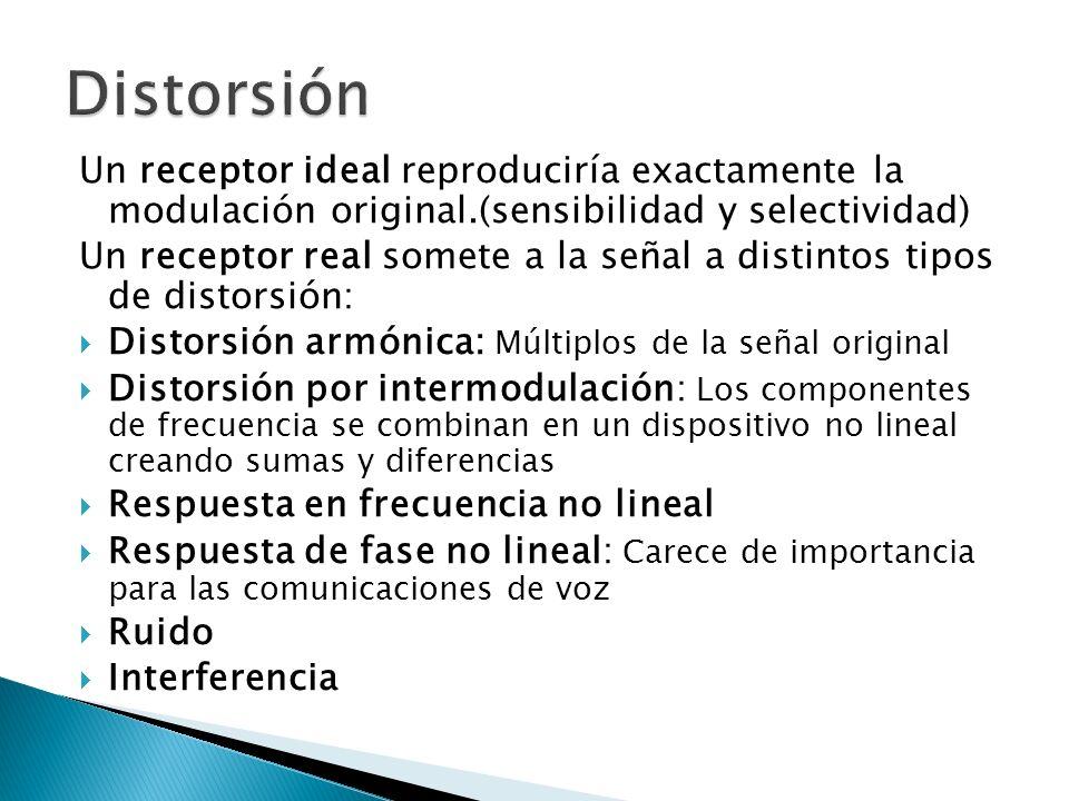Un receptor ideal reproduciría exactamente la modulación original.(sensibilidad y selectividad) Un receptor real somete a la señal a distintos tipos d