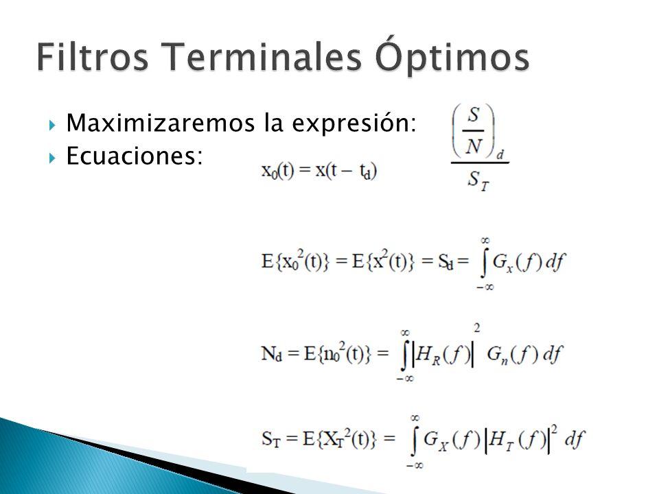 Maximizaremos la expresión: Ecuaciones: