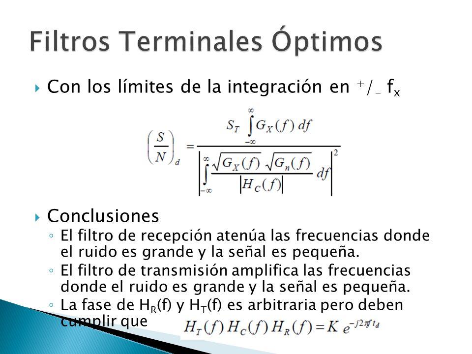 Con los límites de la integración en + / - f x Conclusiones El filtro de recepción atenúa las frecuencias donde el ruido es grande y la señal es peque