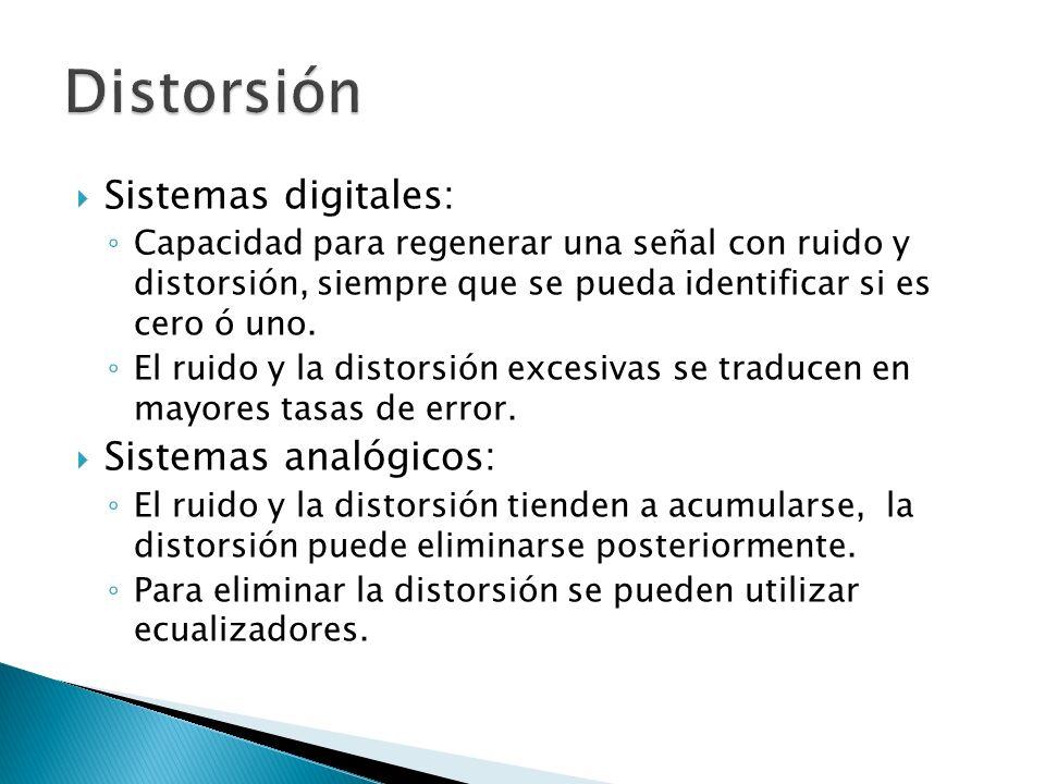 Sistemas digitales: Capacidad para regenerar una señal con ruido y distorsión, siempre que se pueda identificar si es cero ó uno. El ruido y la distor